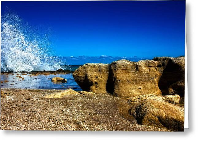 On The Beach Greeting Cards - Rocks and Waves Greeting Card by Mark Andrew Thomas