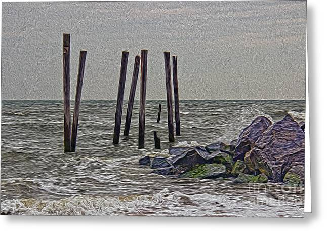 Algae Greeting Cards - Rocks at 59th Street Greeting Card by Tom Gari Gallery-Three-Photography