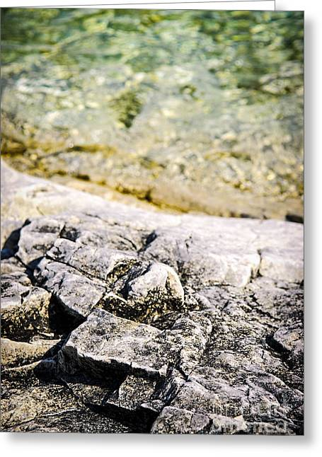 Rock Texture Greeting Cards - Rocks at Georgian Bay Greeting Card by Elena Elisseeva