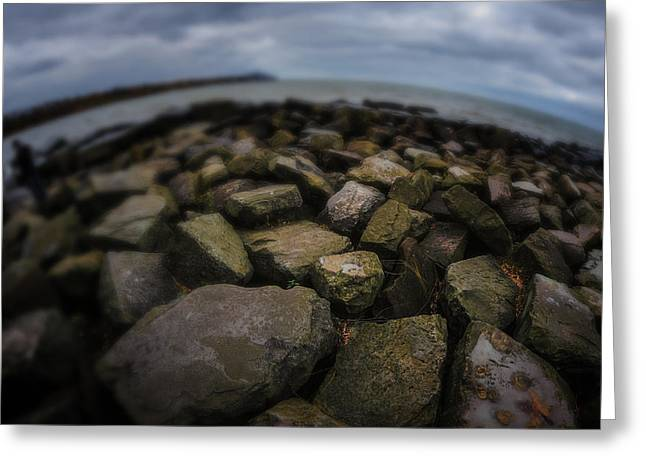 Metro Park Greeting Cards - Rocks at lake Erie  Greeting Card by Michael Demagall