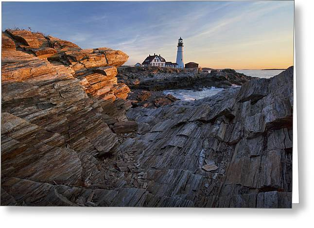 Portland Head Light Greeting Cards - Rocks at Portland Head Greeting Card by Eric Gendron