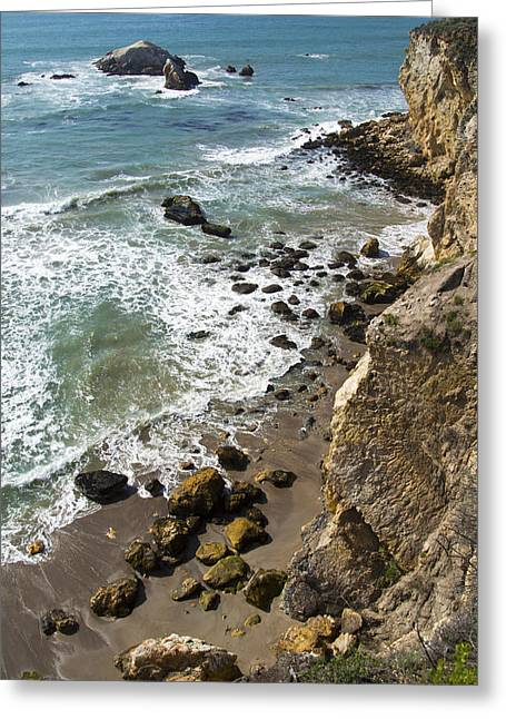 California Ocean Photography Paintings Greeting Cards - Rocks At Shell Beach Greeting Card by Barbara Snyder