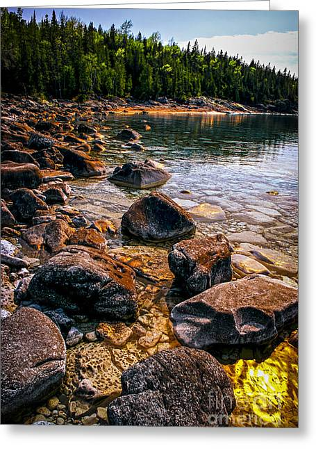 Huron Coast Greeting Cards - Rocks at shore of Georgian Bay Greeting Card by Elena Elisseeva