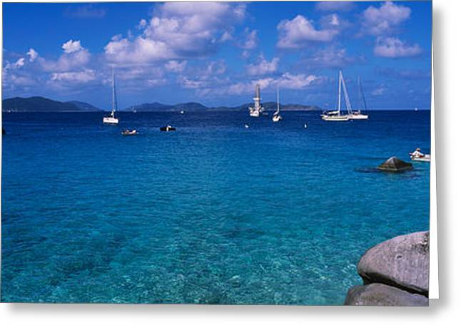 Water Vessels Greeting Cards - Rocks At The Coast With Boats Greeting Card by Panoramic Images
