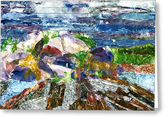 Maine Landscape Mixed Media Greeting Cards - Rocks at Two Lights Dark Greeting Card by Suzanne Stewart