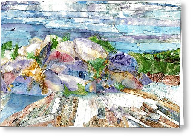 Maine Lighthouses Mixed Media Greeting Cards - Rocks at Two Lights Greeting Card by Suzanne Stewart