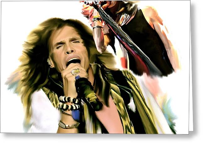 Best Sellers -  - Rocks Drawings Greeting Cards - Rocks Gothic Lion  STEVEN TYLER Greeting Card by Iconic Images Art Gallery David Pucciarelli