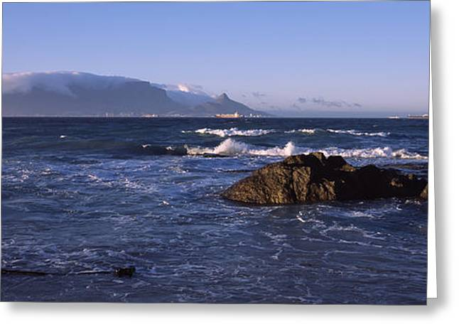 Lions Greeting Cards - Rocks In The Sea With Table Mountain Greeting Card by Panoramic Images