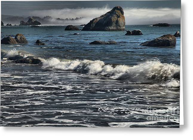 Foggy Beach Greeting Cards - Rocks In The Surf Greeting Card by Adam Jewell