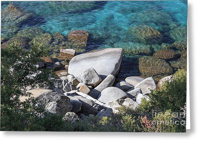 Tahoe National Forest Greeting Cards - Rocks in the Turquoise Lake Greeting Card by Jannis Werner