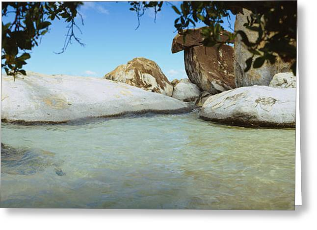 Ocean Panorama Greeting Cards - Rocks In Water, The Baths, Virgin Greeting Card by Panoramic Images