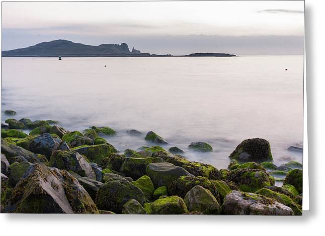 Peaceful Scene Greeting Cards - Rocks of Howth Pier and Irelands Eye Greeting Card by Semmick Photo