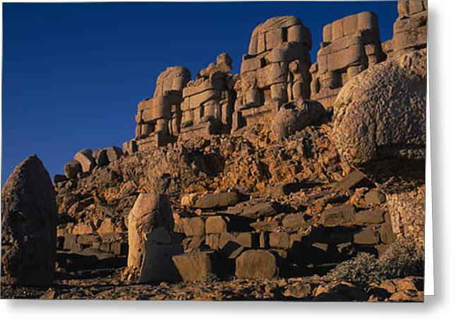 Archaeology Sculpture Greeting Cards - Rocks On A Cliff, Mount Nemrut, Nemrud Greeting Card by Panoramic Images