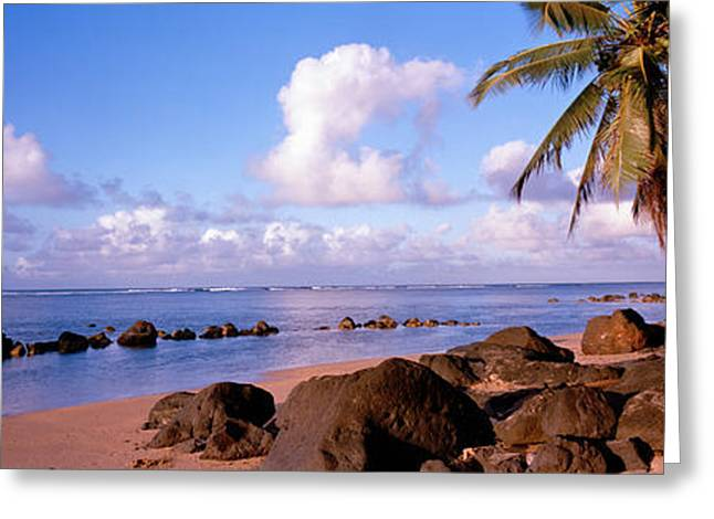Beach Photography Greeting Cards - Rocks On The Beach, Anini Beach, Kauai Greeting Card by Panoramic Images