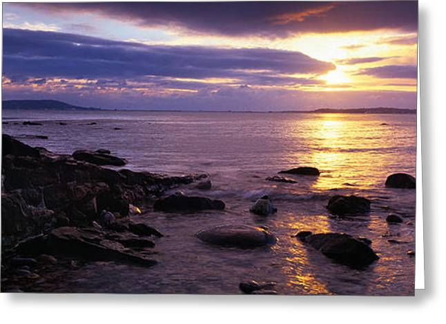 Rocks On The Beach At Dusk, Osmington Greeting Card by Panoramic Images