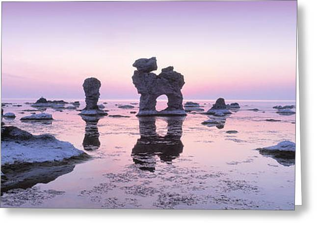 Faro Greeting Cards - Rocks On The Beach, Faro, Gotland Greeting Card by Panoramic Images