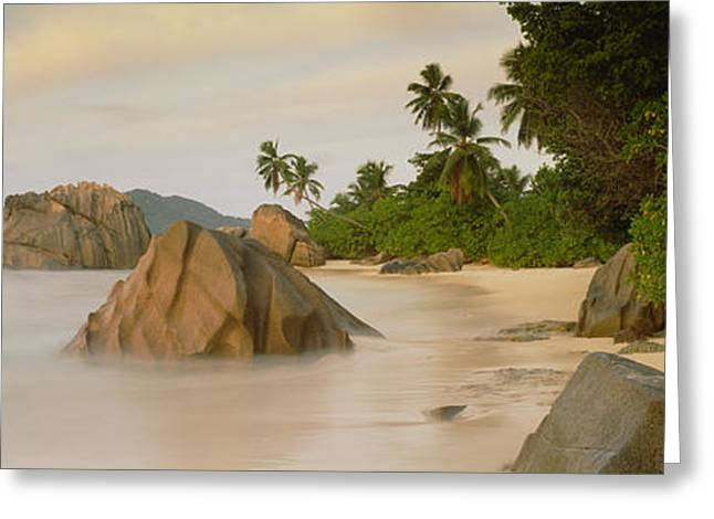 Tropical Vegetation Greeting Cards - Rocks On The Beach, La Digue Island Greeting Card by Panoramic Images