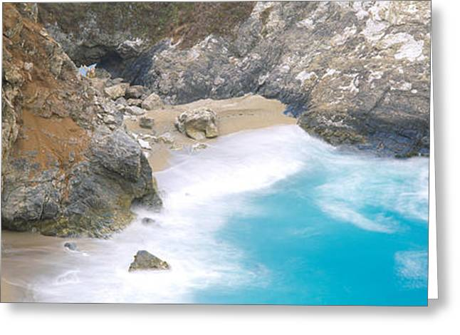 Big Sur California Photographs Greeting Cards - Rocks On The Beach, Mcway Falls, Julia Greeting Card by Panoramic Images