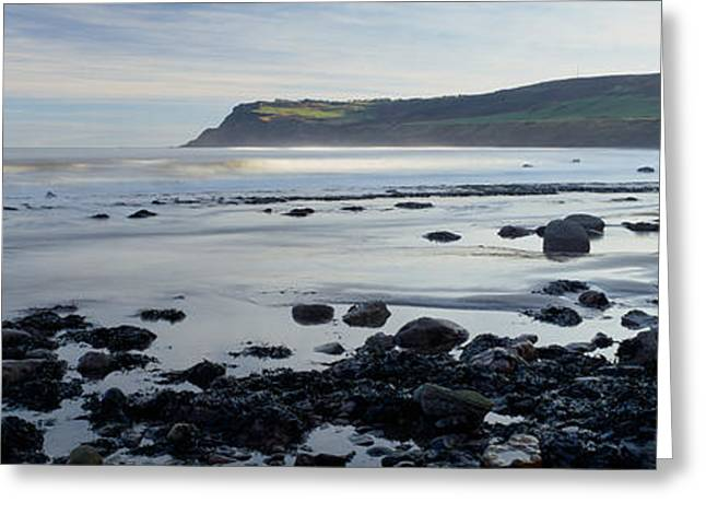 Horizon Over Water Greeting Cards - Rocks On The Beach, Robin Hoods Bay Greeting Card by Panoramic Images