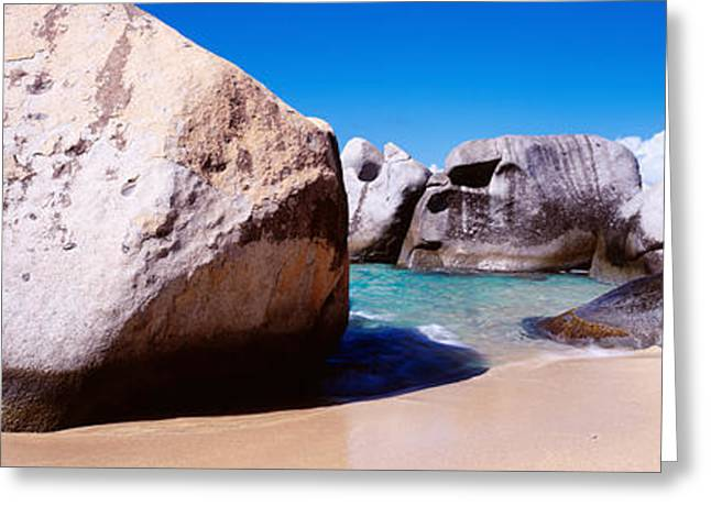 Virgin Gorda Greeting Cards - Rocks On The Beach, Virgin Gorda Greeting Card by Panoramic Images