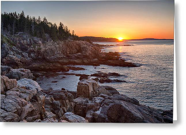 Maine Beach Greeting Cards - Rocks On The Coast At Sunrise, Little Greeting Card by Panoramic Images