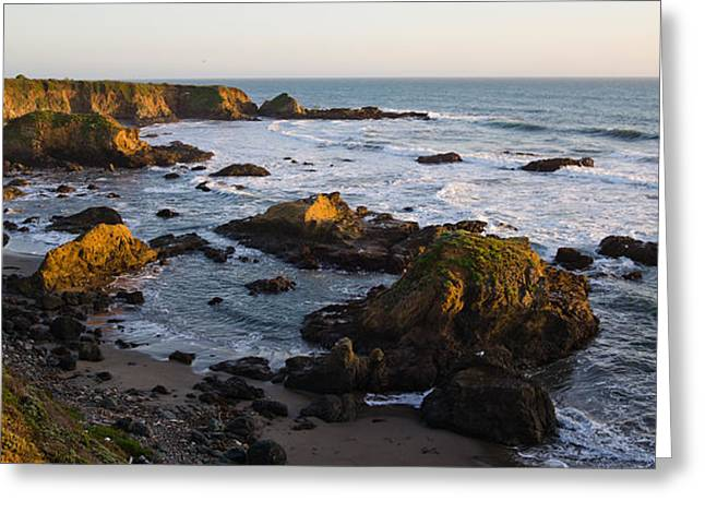 California Ocean Photography Greeting Cards - Rocks On The Coast, Cambria, San Luis Greeting Card by Panoramic Images