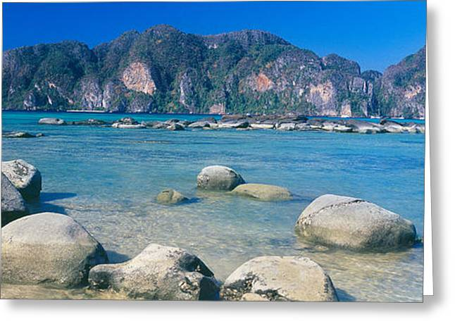 Phi Greeting Cards - Rocks On The Coast, Phi Phi Islands Greeting Card by Panoramic Images