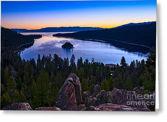 Sunset Bay State Park Greeting Cards - Rocks over Emerald Bay Greeting Card by Jamie Pham
