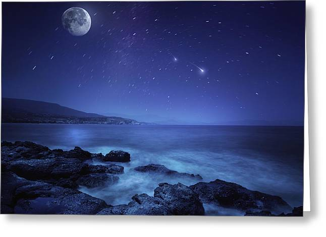 Sea Moon Full Moon Greeting Cards - Rocks Seaside Against Rising Moon Greeting Card by Evgeny Kuklev