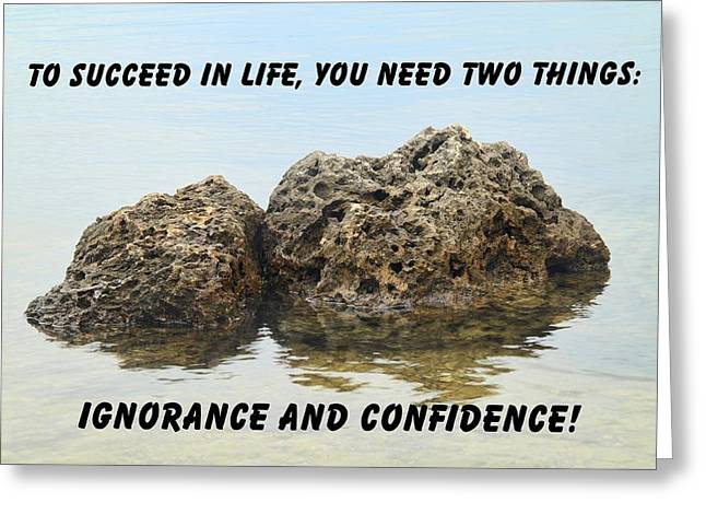 Rocks With Reflection Quote  Greeting Card by Rudy Umans