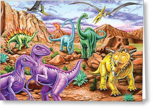 Dinosaurs Greeting Cards - Rocku Mountain Dinos Greeting Card by Mark Gregory