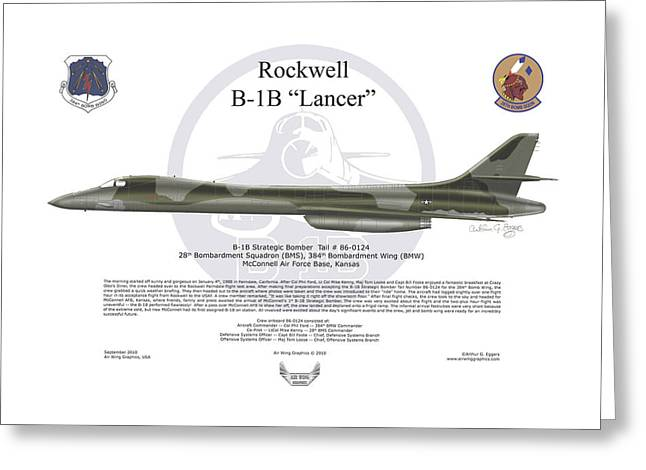 Deployment Prints Greeting Cards - Rockwell B-1B Lancer Greeting Card by Arthur Eggers