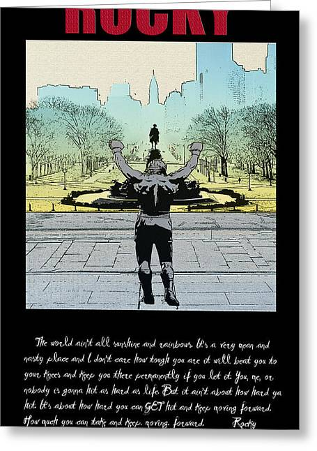 Stallone Digital Art Greeting Cards - Rocky - All Sunshine and Rainbows Greeting Card by Bill Cannon