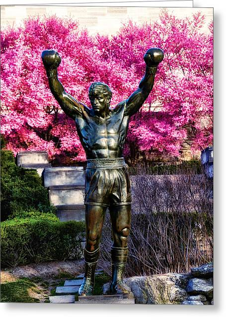 Stallone Digital Art Greeting Cards - Rocky Among the Cherry Blossoms Greeting Card by Bill Cannon