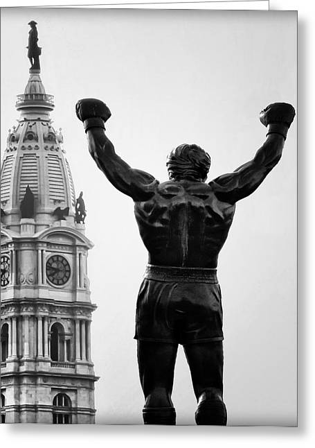 Penn Digital Art Greeting Cards - Rocky and Philadelphia Greeting Card by Bill Cannon