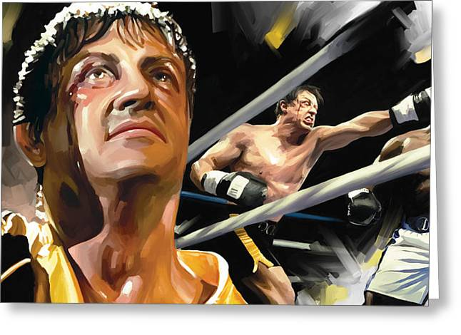Movie Art Mixed Media Greeting Cards - Rocky Artwork 1 Greeting Card by Sheraz A