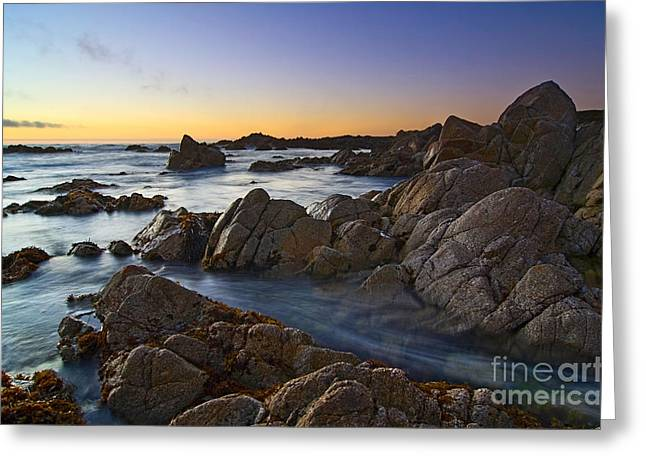 Pacific Grove Beach Greeting Cards - Rocky Asilomar Beach in Monterey Bay at sunset. Greeting Card by Jamie Pham
