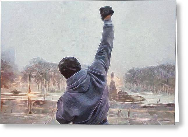 Sylvester Greeting Cards - Rocky Balboa Greeting Card by Dan Sproul