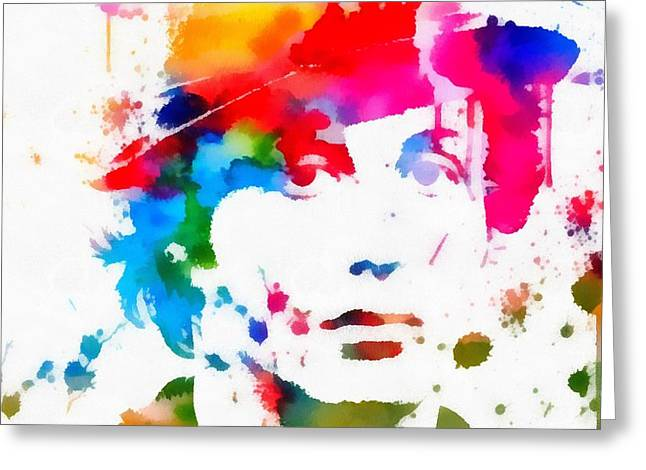 Acting Paintings Greeting Cards - Rocky Balboa Paint Splatter Greeting Card by Dan Sproul