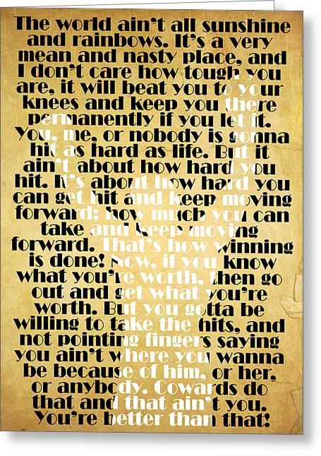 Printed Greeting Cards - Rocky Balboa Quote Poster Greeting Card by Pete Baldwin