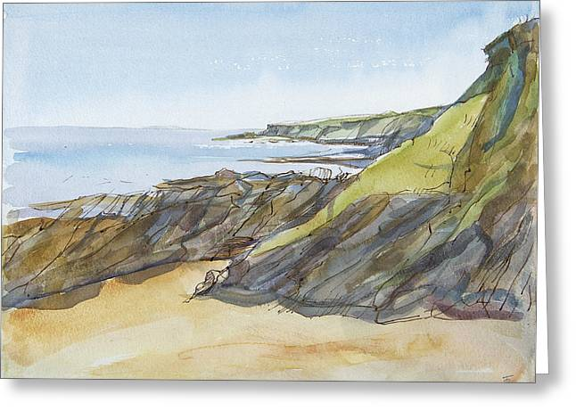 Cornish Beaches Greeting Cards - Rocky Beach On The Roseland Pen & Ink And Wc On Paper Greeting Card by Erin Townsend
