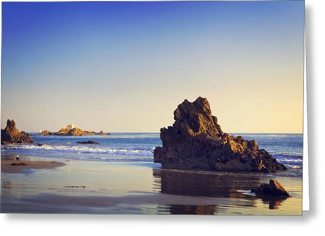 California Ocean Photography Greeting Cards - Rocky beach shore in southern California Corona Del Mar Greeting Card by Clearframe Gallery