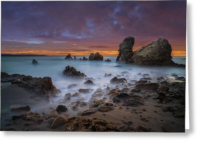 Rocky California Beach - Square Greeting Card by Larry Marshall
