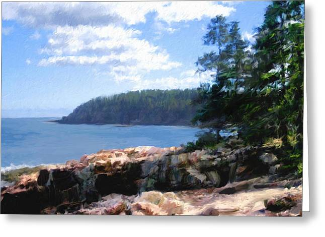 Maine Shore Digital Greeting Cards - Rocky Coast .  Impressionistic  Greeting Card by Ann Powell