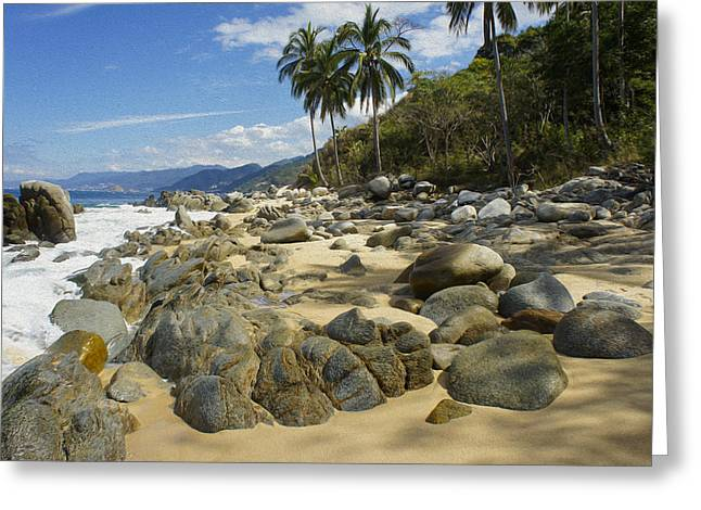 Moon Beach Digital Art Greeting Cards - Rocky Coast Greeting Card by Aged Pixel