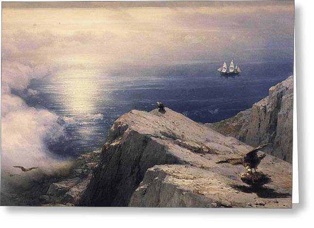 Ivan Greeting Cards - Rocky Coastal Greeting Card by Ivan Konstantinovich Aivazovsky