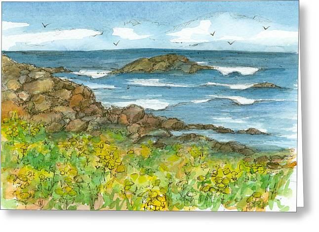 California Beaches Drawings Greeting Cards - Rocky Coastline Greeting Card by Cathie Richardson