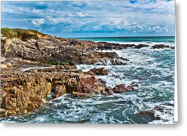 Tidal Photographs Greeting Cards - Rocky Coastline HDR Greeting Card by Nila Newsom