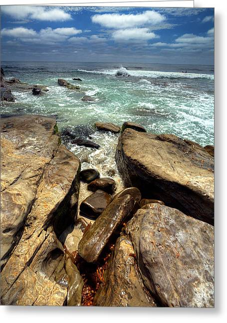 California Beaches Greeting Cards - Rocky Cove Greeting Card by Peter Tellone
