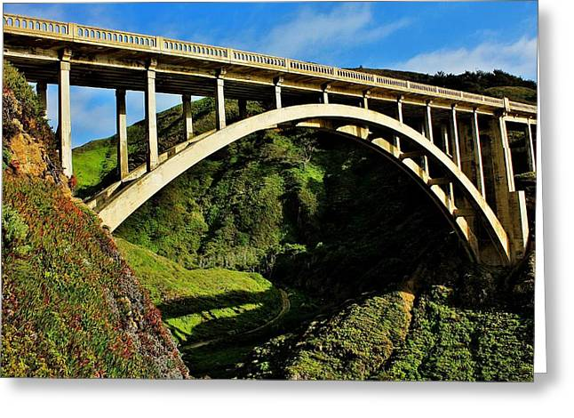 Scenic Drive Greeting Cards - Rocky Creek Bridge Greeting Card by Benjamin Yeager